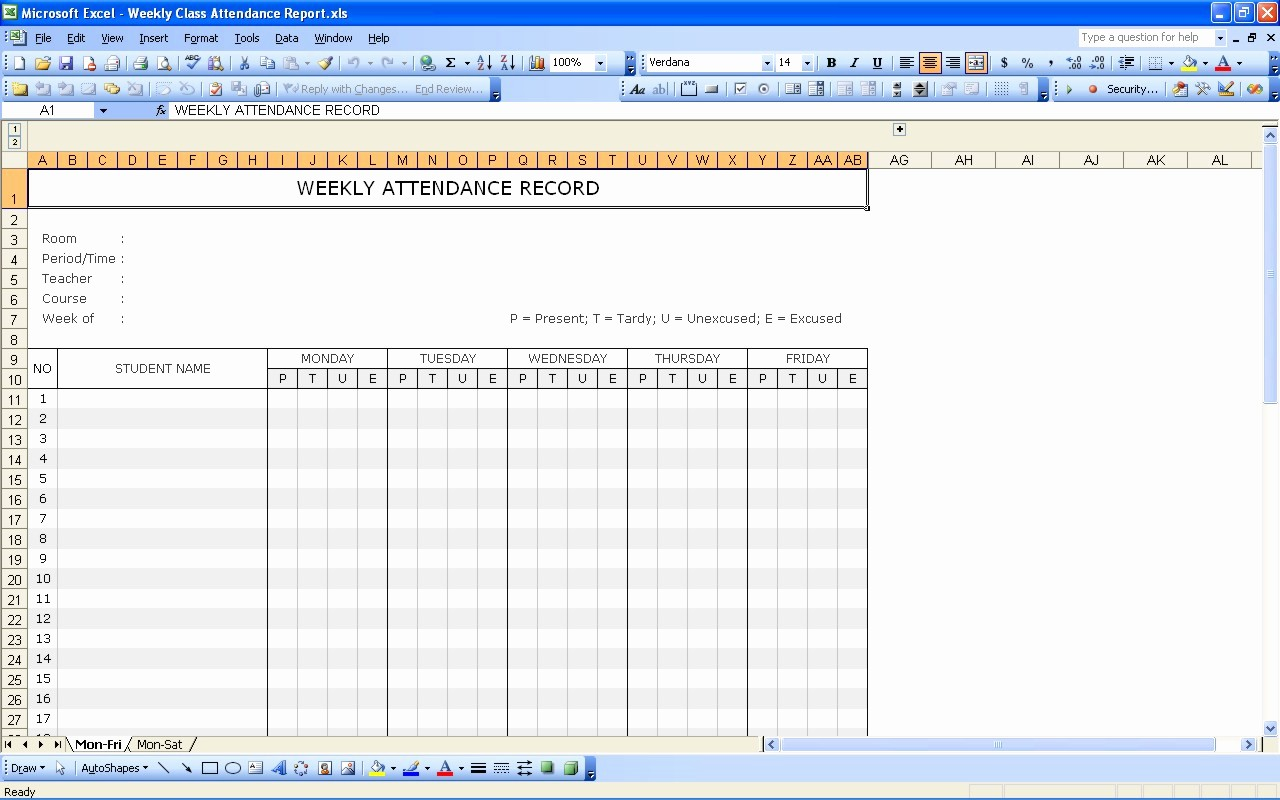 Daily attendance Sheet In Excel Elegant 36 General attendance Sheet Templates In Excel Thogati