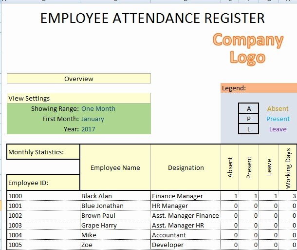 Daily attendance Sheet In Excel Elegant Daily Employee attendance Sheet In Excel 2017