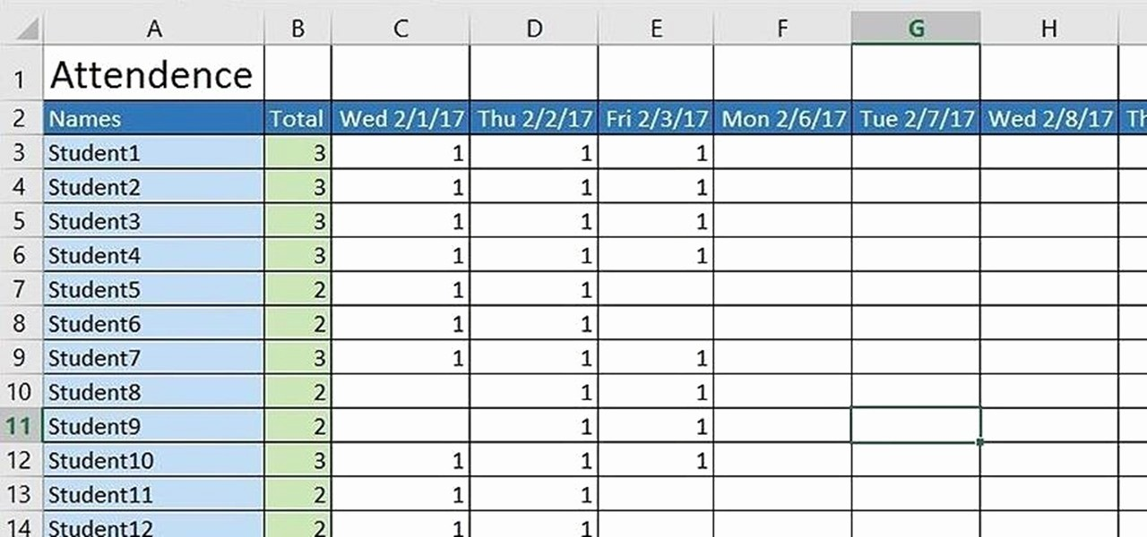 create basic attendance sheet excel