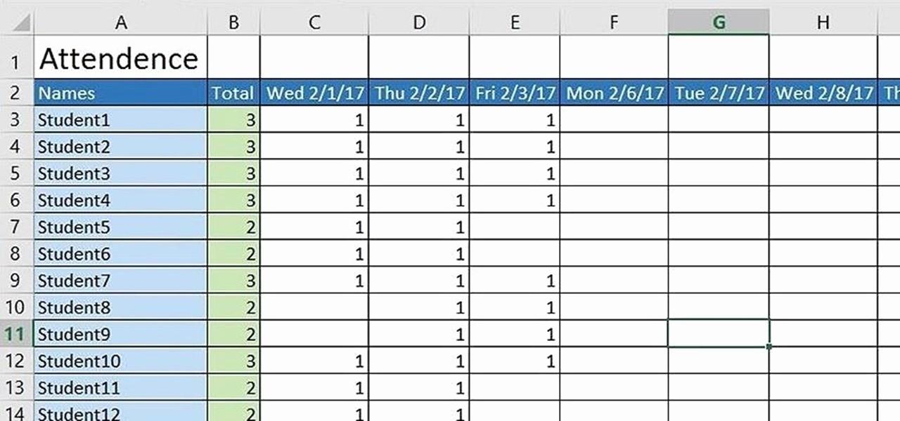 create basic attendance sheet excel