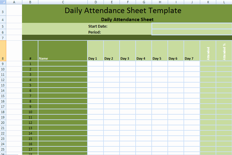 Daily attendance Sheet In Excel Lovely Daily Employee attendance Sheet In Excel Template
