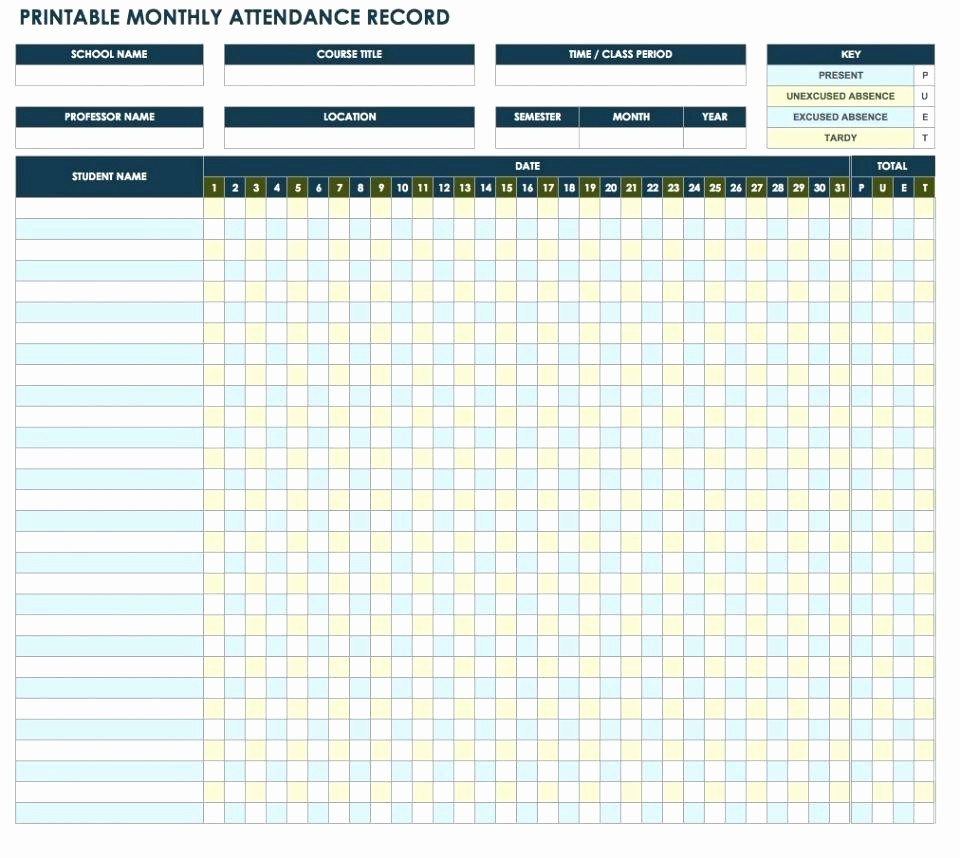 Daily attendance Sheet In Excel Luxury Template attendance Template
