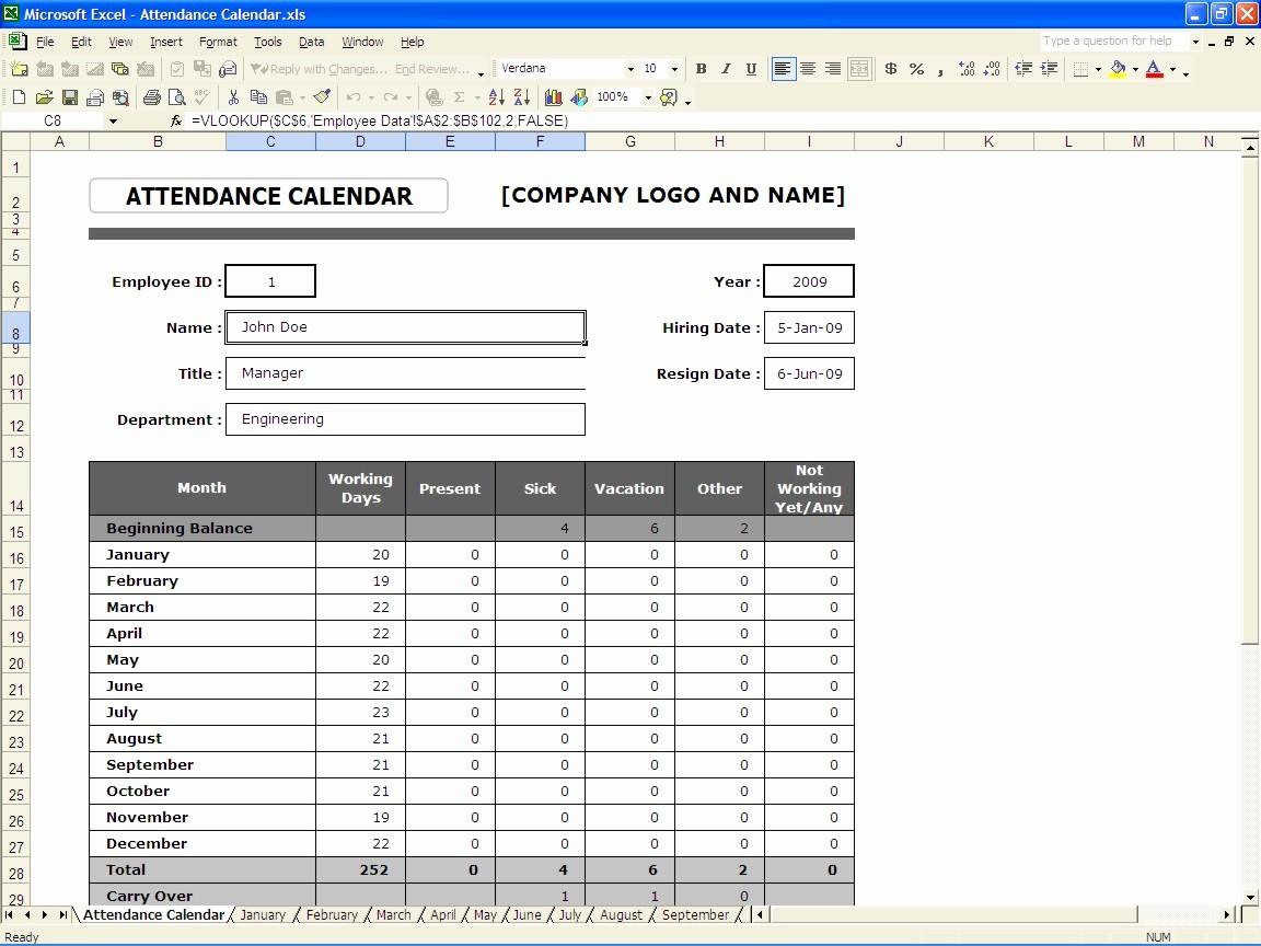 Daily attendance Sheet In Excel New attendance Calendar form 2016
