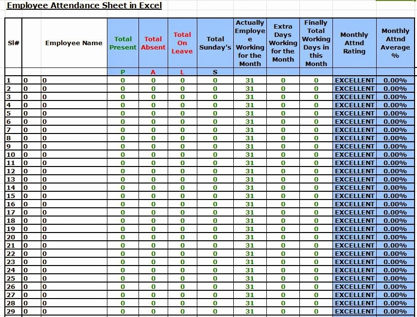 Daily attendance Sheet In Excel New Daily attendance Sheet