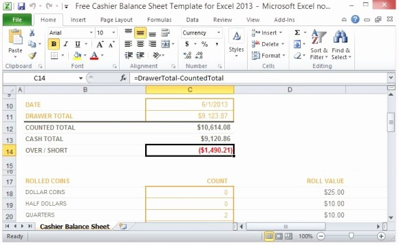 Daily Cash Report Template Excel Awesome Free Cashier Balance Sheet Template for Excel 2013