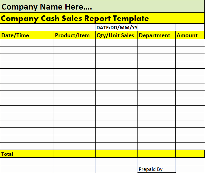 Daily Cash Report Template Excel Best Of Cash Sales Report Template – Free Report Templates