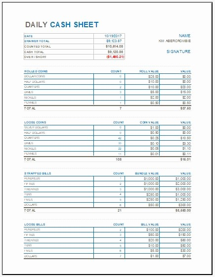 Daily Cash Report Template Excel Fresh Daily Cash Sheet Template for Ms Excel