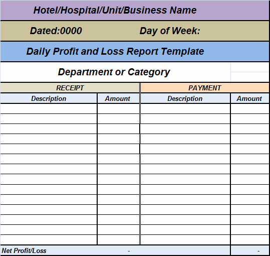 Daily Cash Report Template Excel Fresh Daily Profit Loss Report Template – Free Report Templates