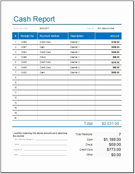 Daily Cash Report Template Excel Inspirational Cash Log Templates for Ms Excel