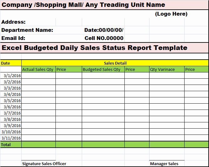 Daily Cash Report Template Excel New Excel Bud Ed Daily Sales Status Report Template – Free