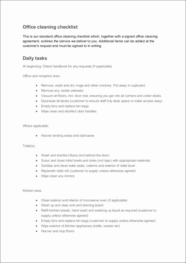 Daily Cleaning Checklist for Office Awesome 15 Daily Checklist Samples & Templates