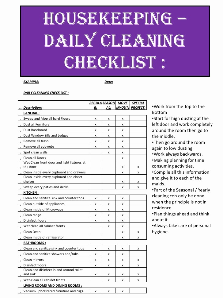 Daily Cleaning Checklist for Office Fresh assignment Nicolaas Van Wyk