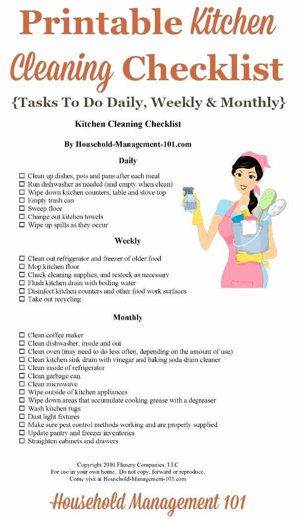 Daily Cleaning Checklist for Office Fresh Kitchen Cleaning Checklist Daily Weekly and Monthly