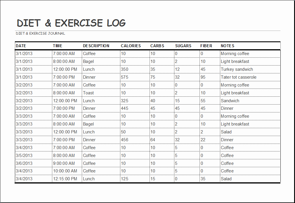 Daily Food and Exercise Log Best Of Diet and Exercise Log Template