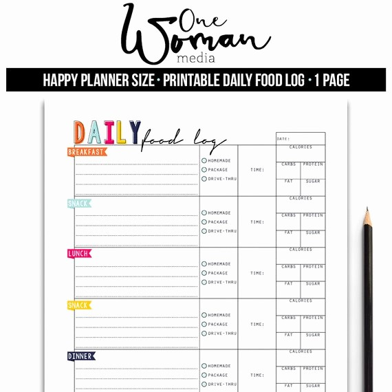 Daily Food and Exercise Log Fresh Daily Food Log Planner Insert Happy Planner Insert