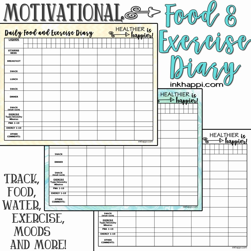 Daily Food and Exercise Log Lovely Motivational Food and Exercise Diary Free Printable