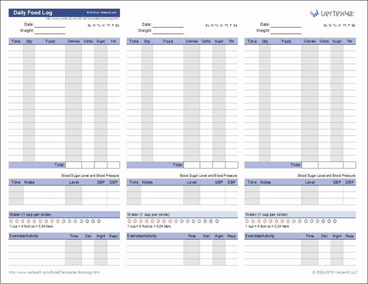 Daily Food and Exercise Log New Download A Free Printable Daily Food Log to Track Your