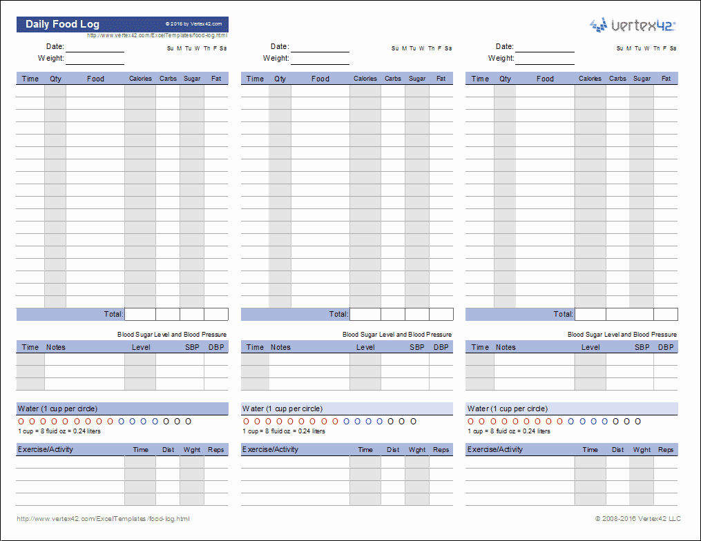 Daily Food and Exercise Log New Food Log Template