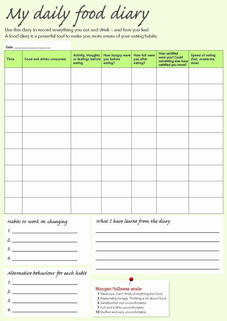 Daily Food and Exercise Log New You Searched for Weight Watchers Food Journal Template