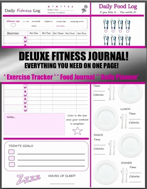 Daily Food and Exercise Log Unique Deluxe 3 In 1 Health and Fitness Journal Includes Exercise