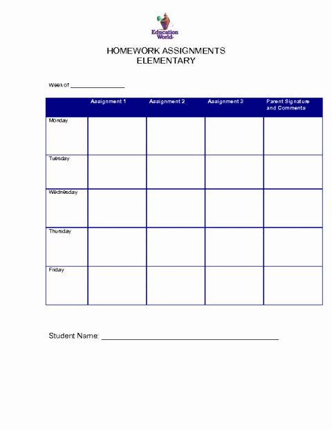 Daily Homework assignment Sheet Template Beautiful 6 Free Homework Templates Excel Pdf formats
