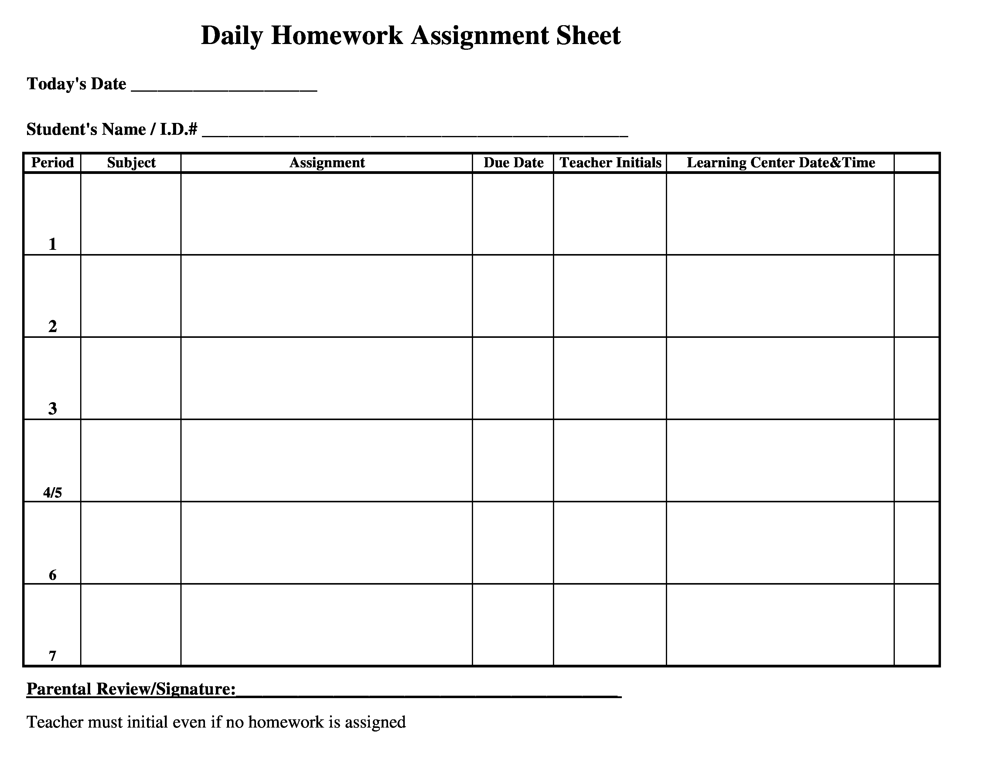 Daily Homework assignment Sheet Template Elegant Free Monthly Homework assignment