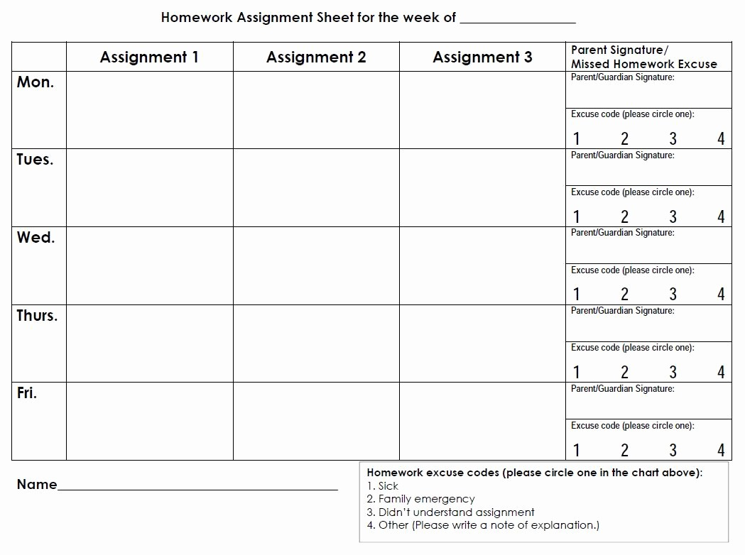 Daily Homework assignment Sheet Template Fresh Printable Planners & Calendars