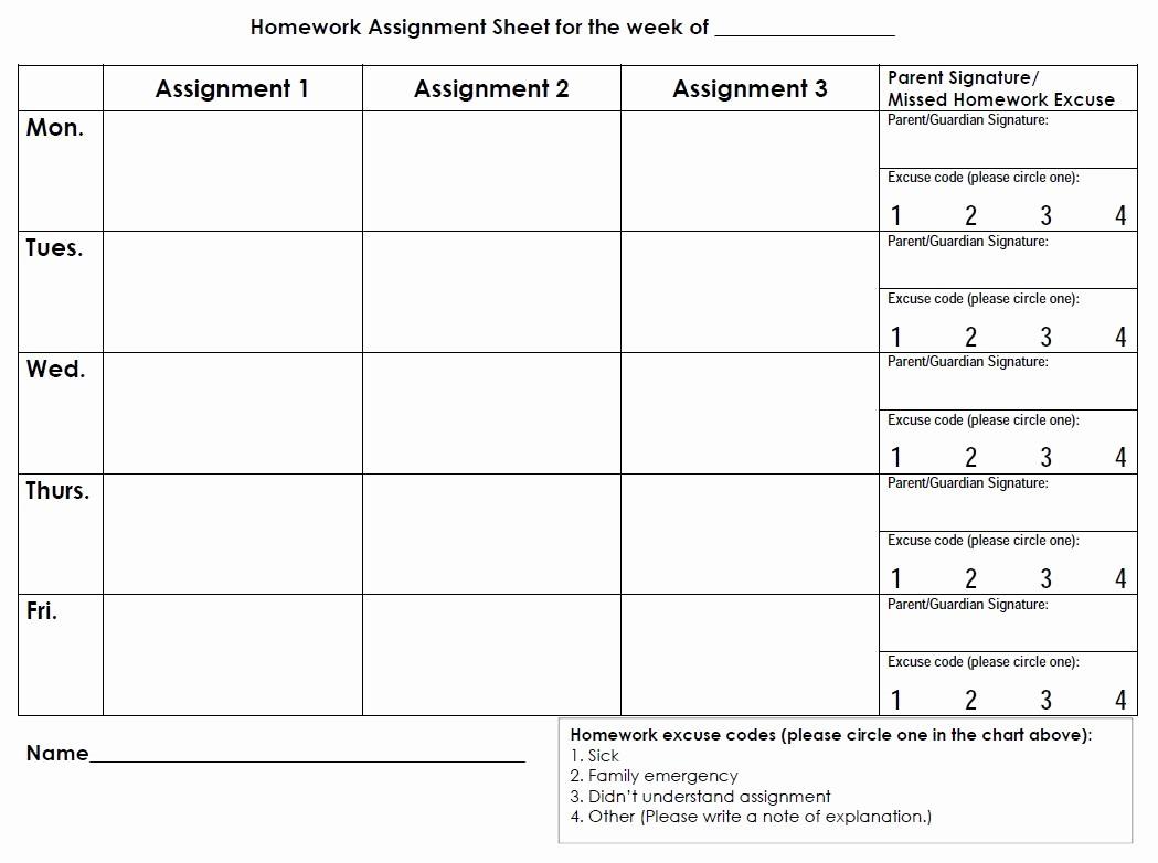 Daily Homework assignment Sheet Template Fresh Printable Planners & Calendars