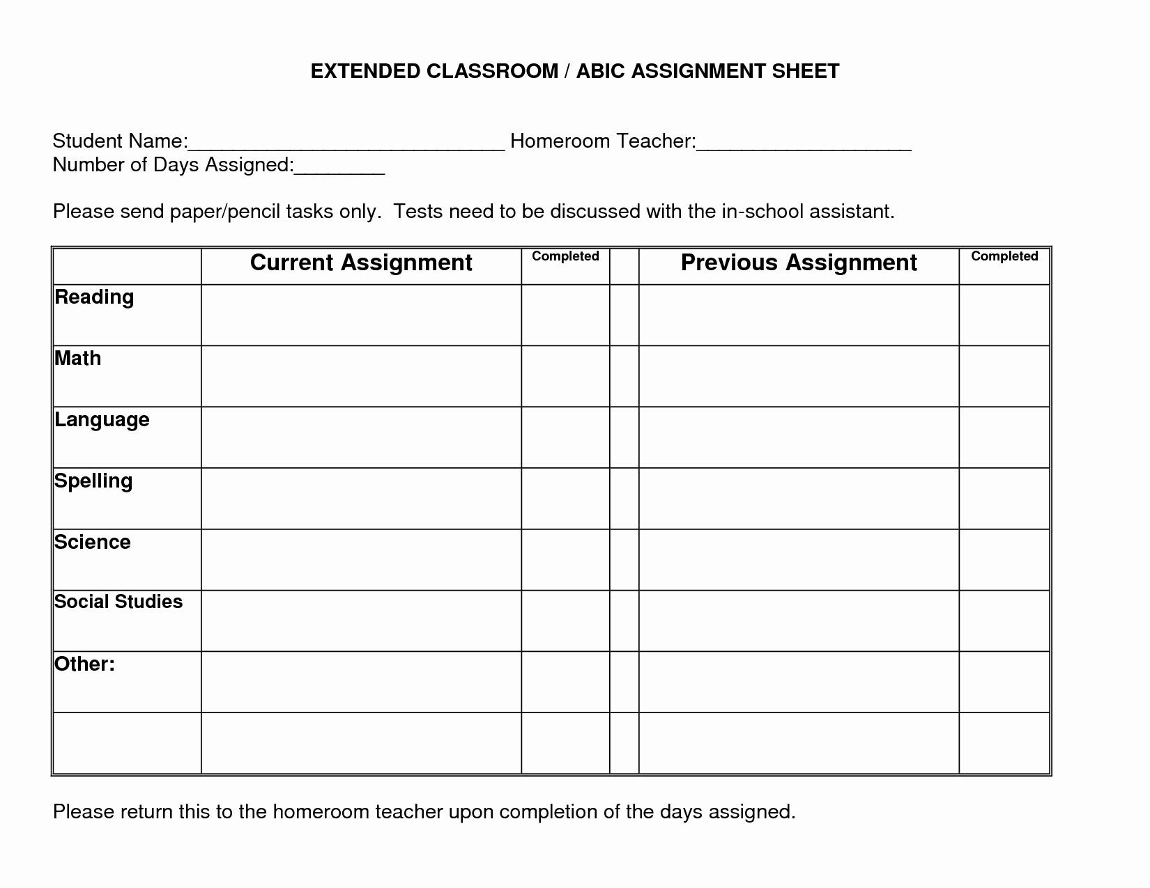 Daily Homework assignment Sheet Template Lovely 5 Best Of Daily Homework assignment Chart