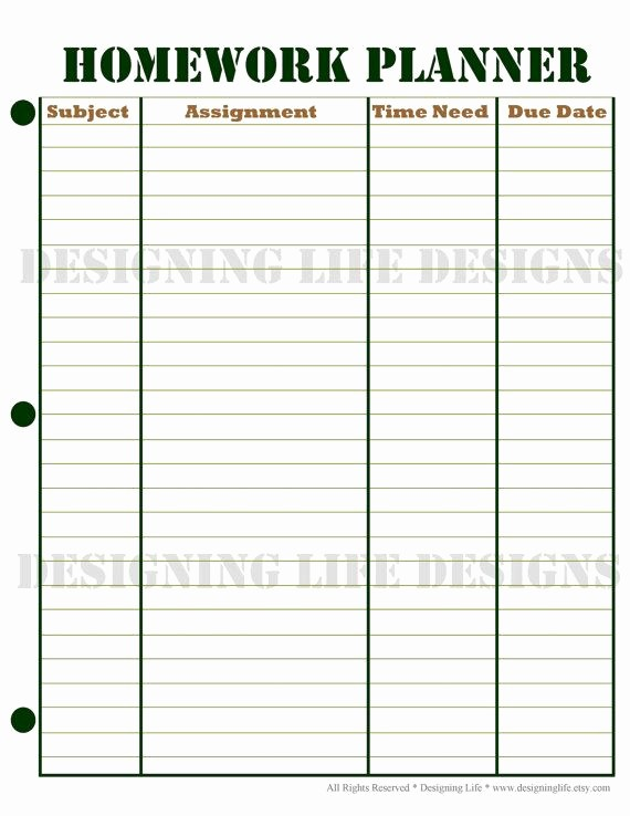 Daily Homework assignment Sheet Template Lovely 6 Best Of Printable Homework Agenda Sheet Free