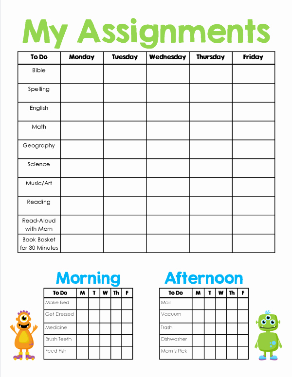 Daily Homework assignment Sheet Template Lovely Homeschool assignment & Chores Sheet Free Printable
