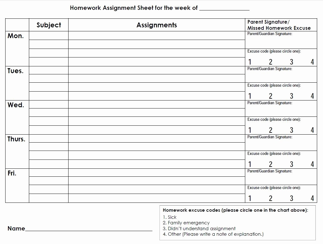 Daily Homework assignment Sheet Template Lovely Printable Planners & Calendars