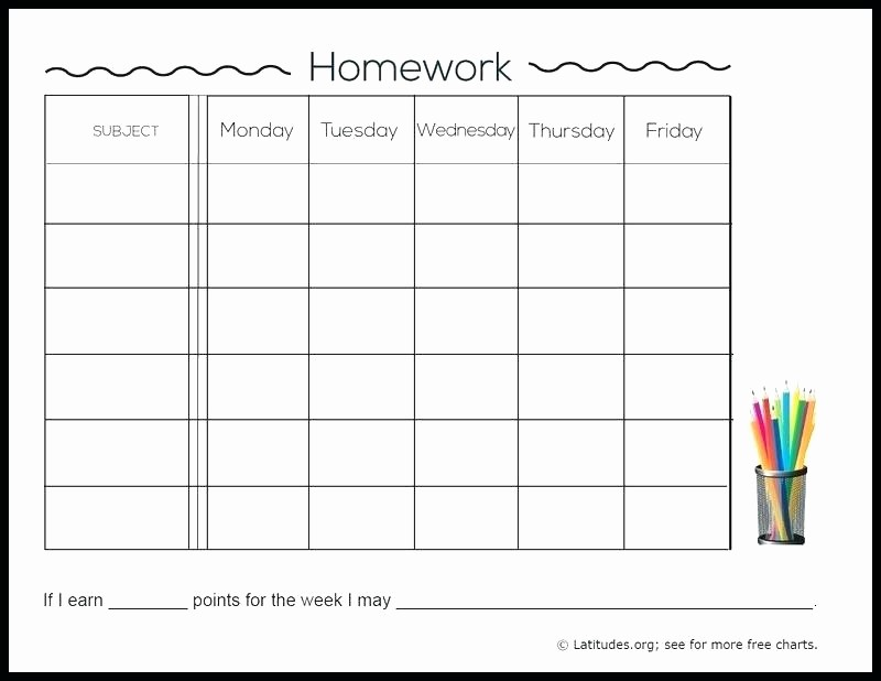 Daily Homework assignment Sheet Template Lovely Weekly Homework assignment Sheet Daily Template Checklist