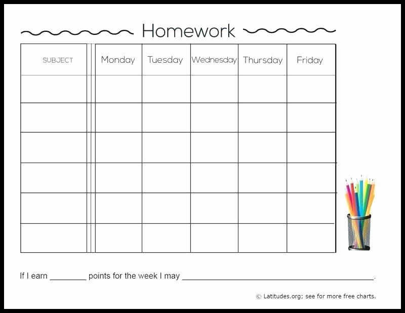 Daily Homework assignment Sheet Template Lovely Weekly Homework assignment Sheet Daily Template Checklist