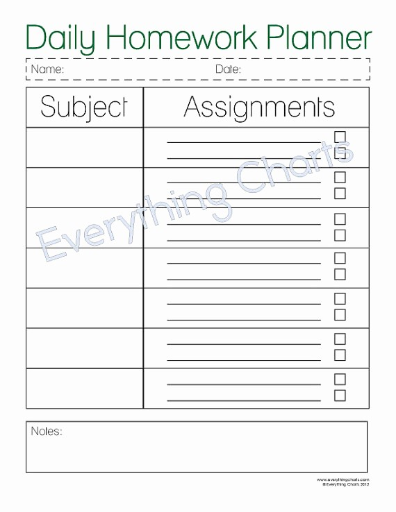 Daily Homework assignment Sheet Template Unique 7 Best Of College assignment Planner Printable