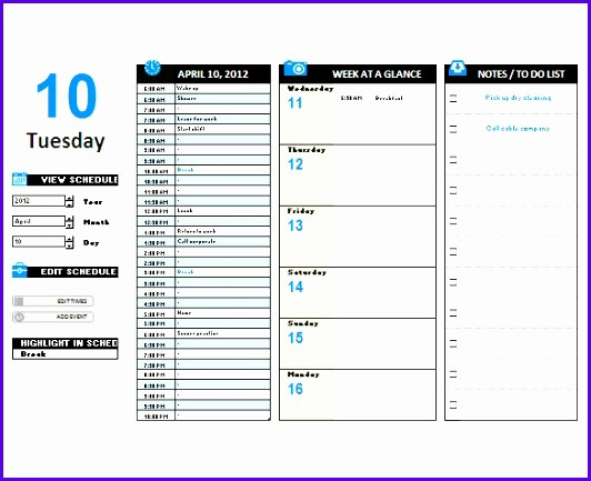 Daily Hourly Planner Template Excel Luxury 10 Excel Daily Planner Template Exceltemplates