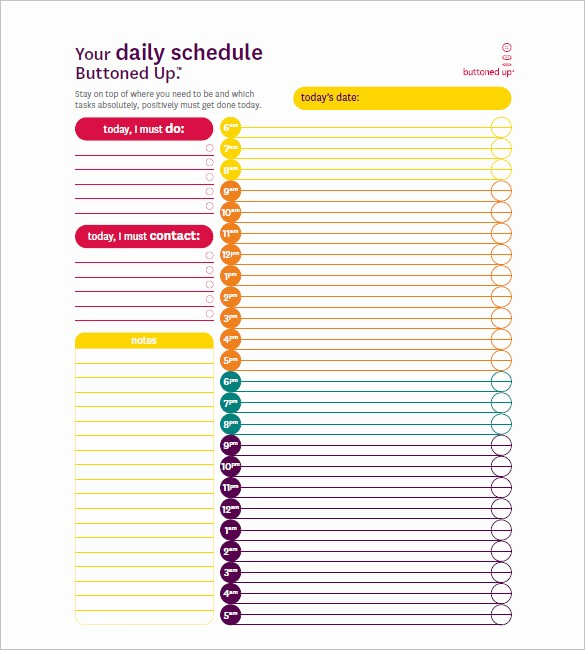 Daily Hourly Schedule Excel Template Fresh Hourly Schedule Template 35 Free Word Excel Pdf