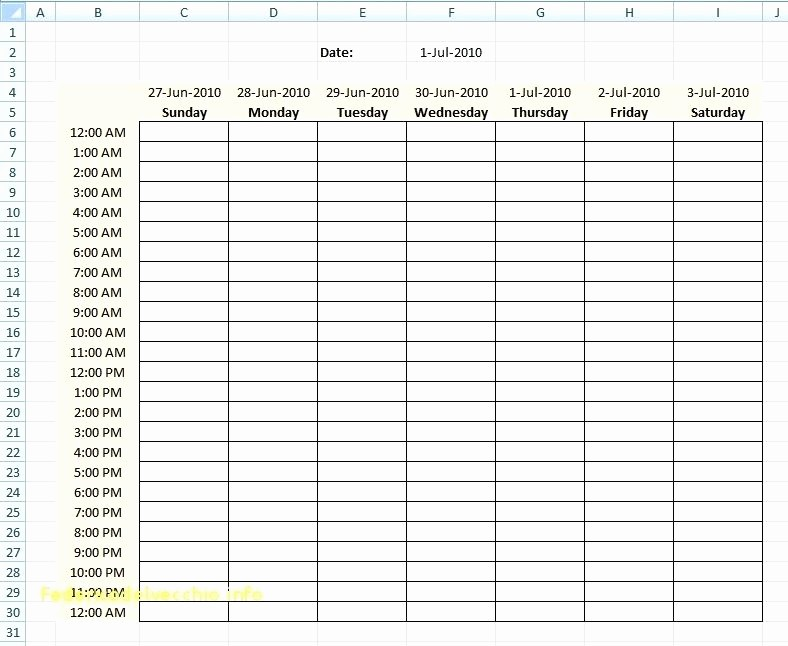 Daily Hourly Schedule Excel Template Inspirational Daily Hourly Planner Template Excel Daily Hourly Planner