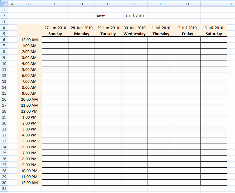 Daily Hourly Schedule Excel Template Unique 4 Daily Hourly Schedule