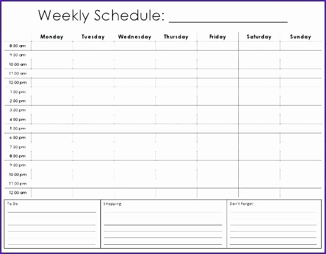 Daily Hourly Schedule Excel Template Unique Daily Hourly Calendar Template Schedule Excel 8 Best