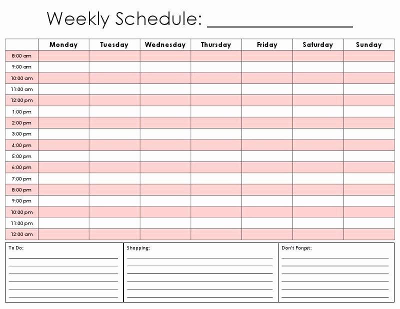 Daily Hourly Schedule Excel Template Unique Printable Hourly Daily Calendar Template