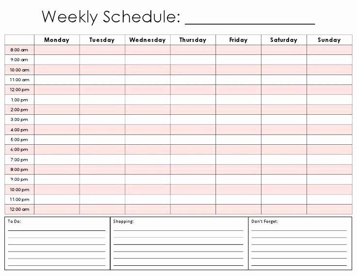 Daily Hourly Schedule Template Excel Elegant Weekly Calendar Template Excel 2015 with Hours Best Hourly