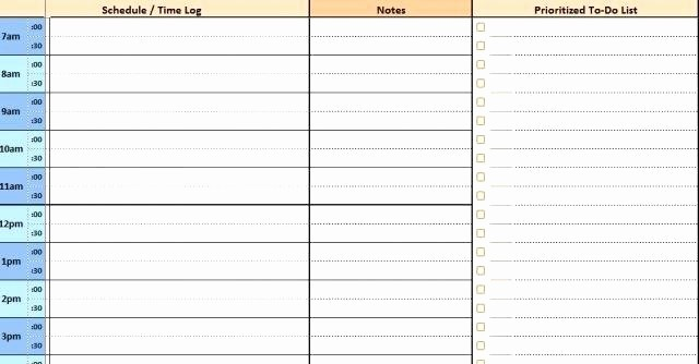Daily Planner with Time Slots Elegant Calendar Template with Time Slots Weekly Excel