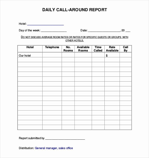 Daily Sales Call Sheet Template Awesome 60 Daily Report Templates Pdf Doc Excel