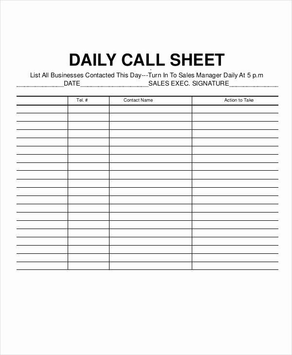 Daily Sales Call Sheet Template Awesome Call Log Sheet Template 11 Free Word Pdf Excel
