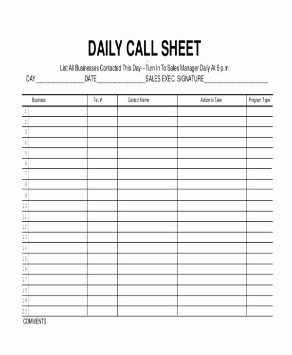 Daily Sales Call Sheet Template Best Of 17 Call Log Templates In Pdf