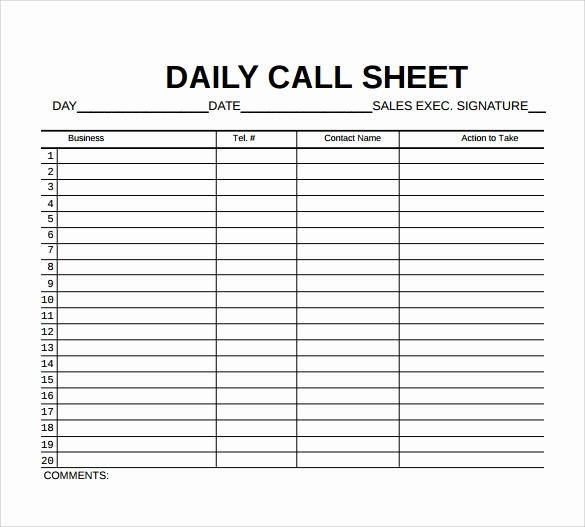 Daily Sales Call Sheet Template Fresh 9 Sample Call Sheet Templates