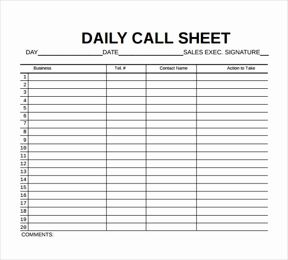 Daily Sales Call Sheet Template Fresh Call Sheet Template