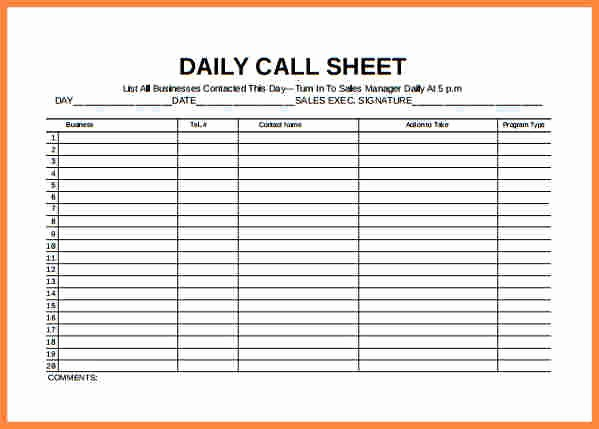 Daily Sales Call Sheet Template Luxury Inventory Spreadsheet Template