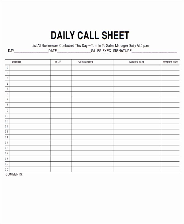 Daily Sales Call Sheet Template Unique 9 Sales Sheet Templates Free Sample Example format